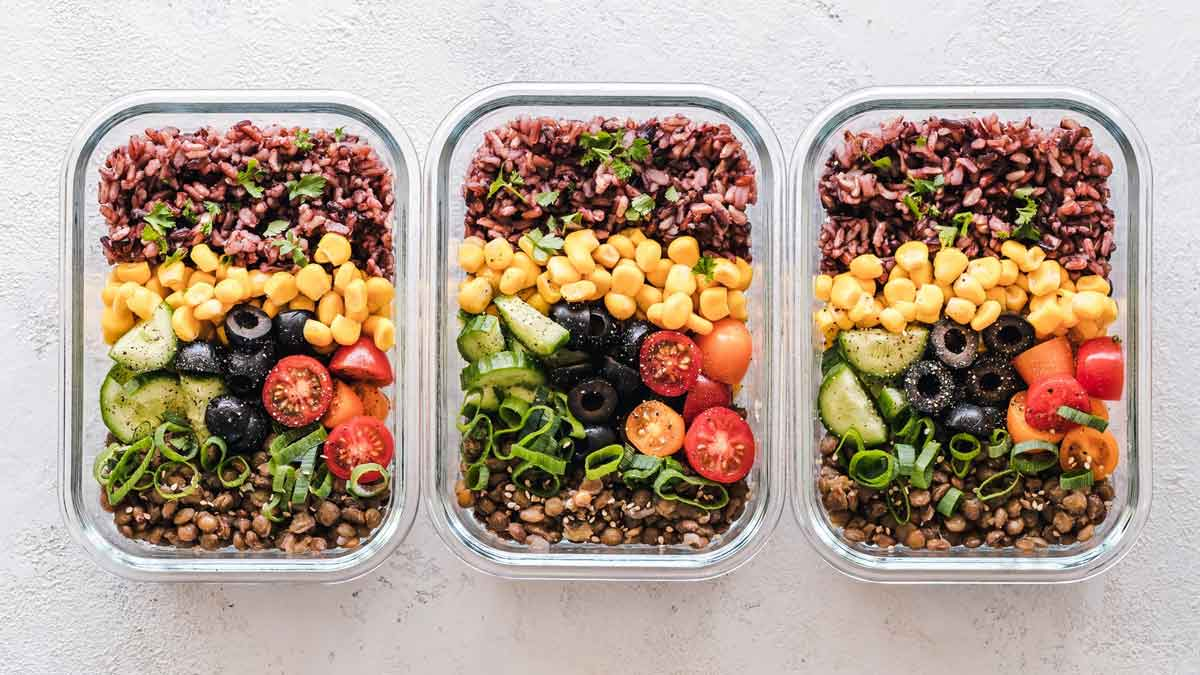 Prepared foods in containers